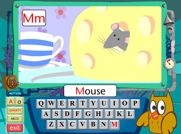 Онлайн гра - англійський озвучений алфавіт з клавіатурою і звірятками
