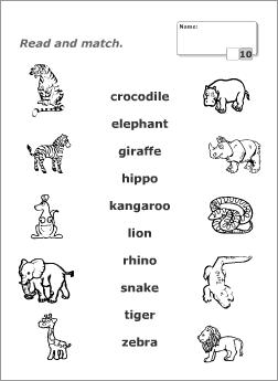 Вправи для дітей. З'єднати назву тварини англійською мовою з її зображенням