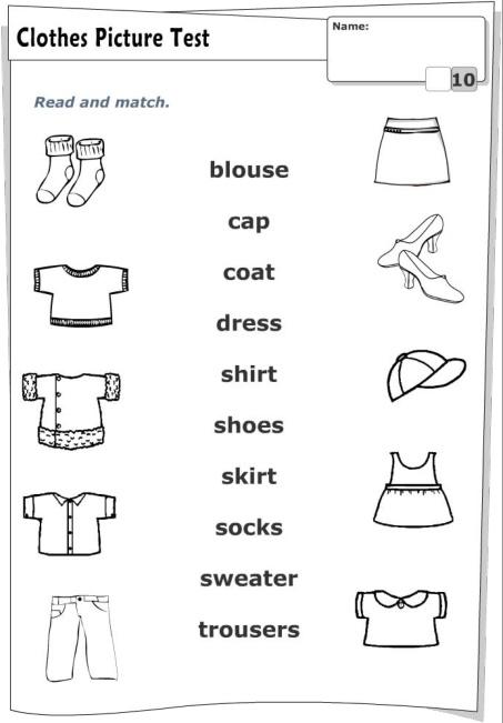 З'єднати назву одягу англійською мовою з його зображенням