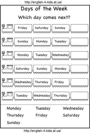 Завдання для дітей - який день тижня йде наступним? Англійська для дітей