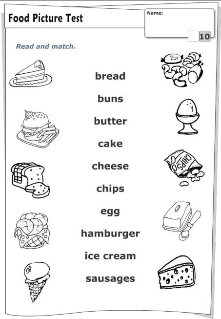 З'єднати назву їжі англійською мовою з її зображенням
