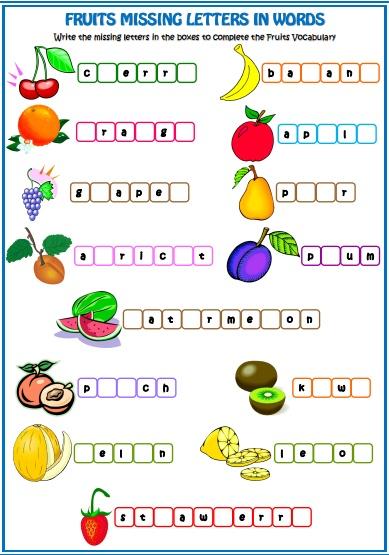 Вправа на вивчення назв фруктів. Напишіть пропущенні літери у назвах фруктів англійською мовою