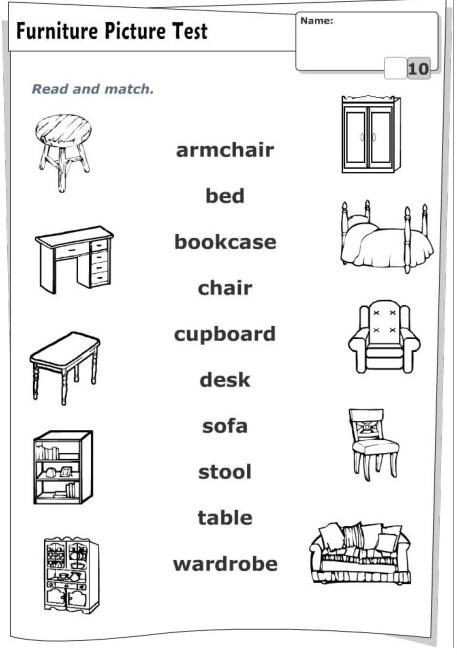 З'єднати назву предмета меблів англійською мовою з його зображенням