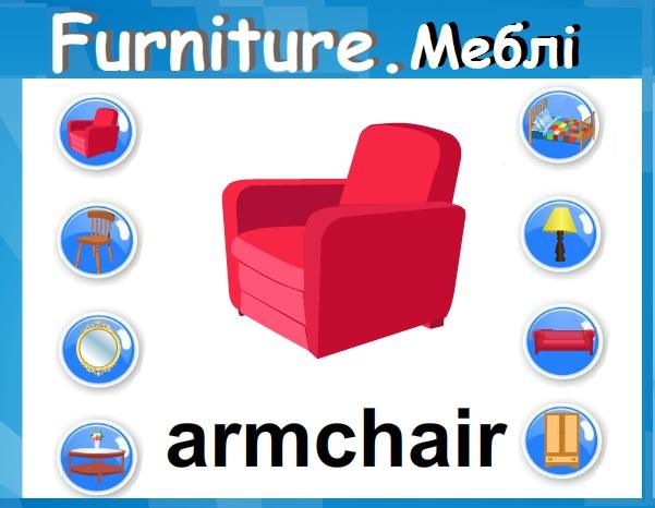 Furniture. Меблі - онлайн гра, таблиця з транскрипцією і перекладом, завдання для друку