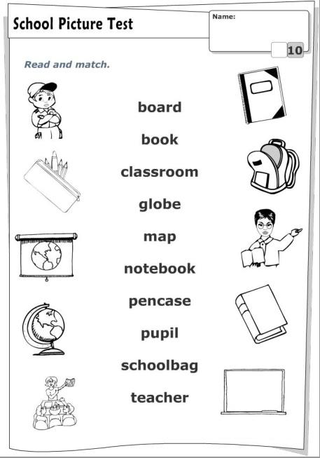 З'єднати назву шкільного предмета англійською мовою з його зображенням.