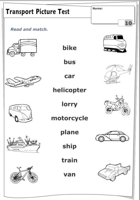 З'єднати назву транспортного засобу англійською мовою з його зображенням